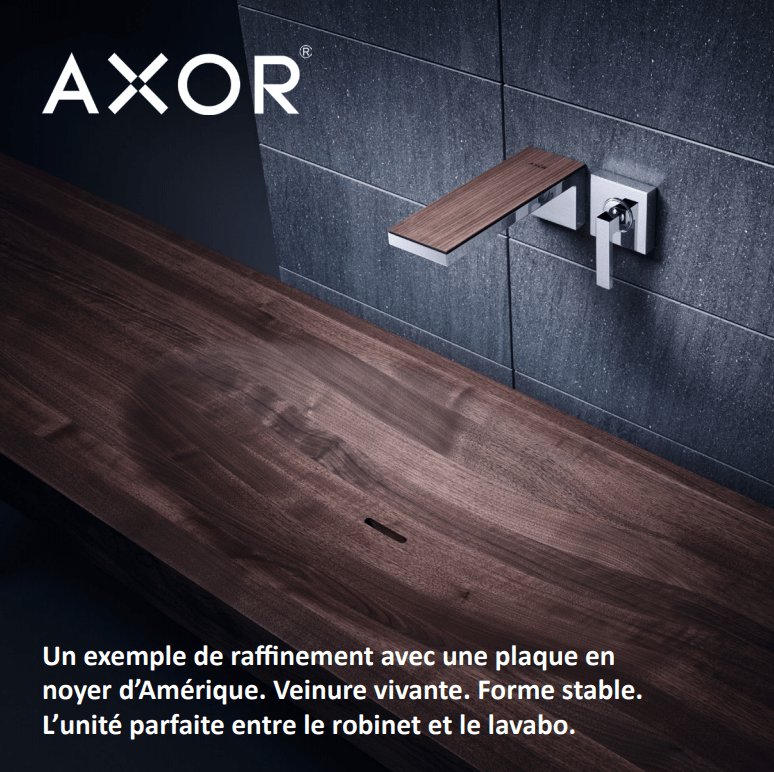 AXOR MyEdition - Wall-mounted washbasin mixer with walnut plate