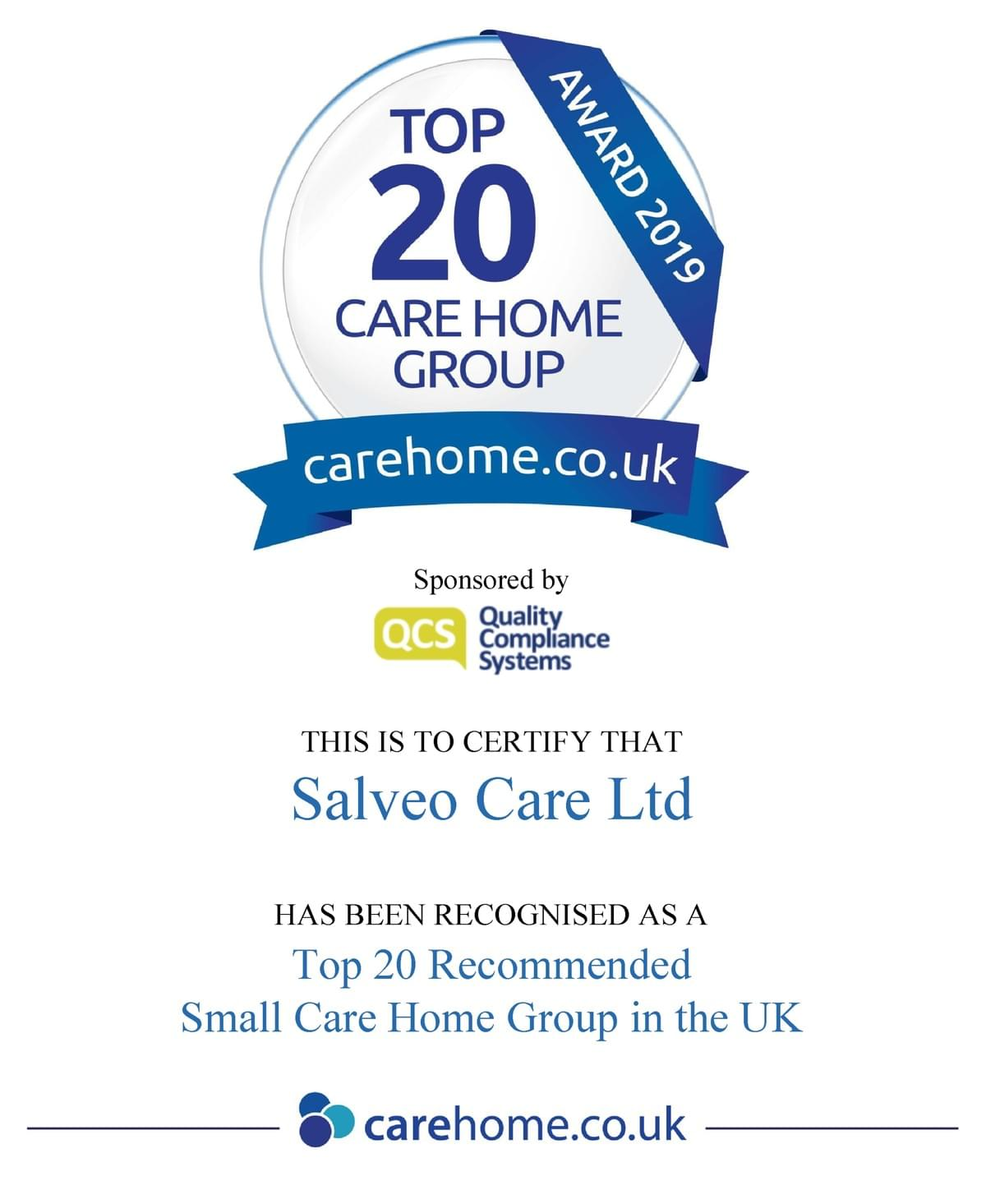Salveo Care - Featured in Top 20 Small Care Home Groups 2017