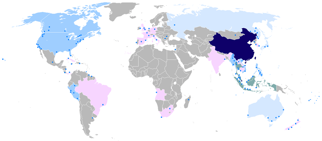 A world map showing where Chinese is spoken in the world