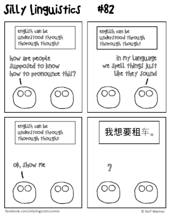 Two people debating about the difference between Englisch and Mandarin Chinese.
