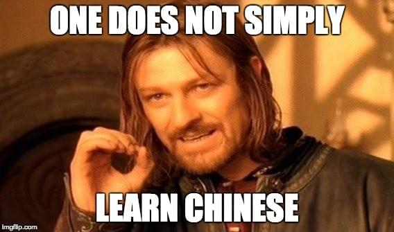 Meme stating the learning Chinese is not easy