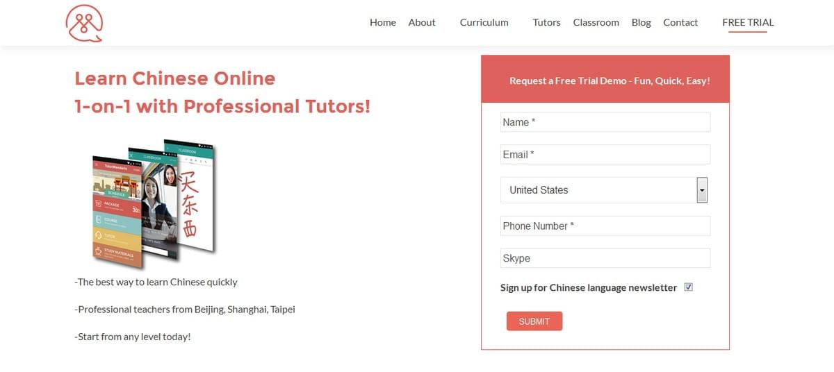 Image showing the signup screen to Learn Chinese Online with TutorMandarin