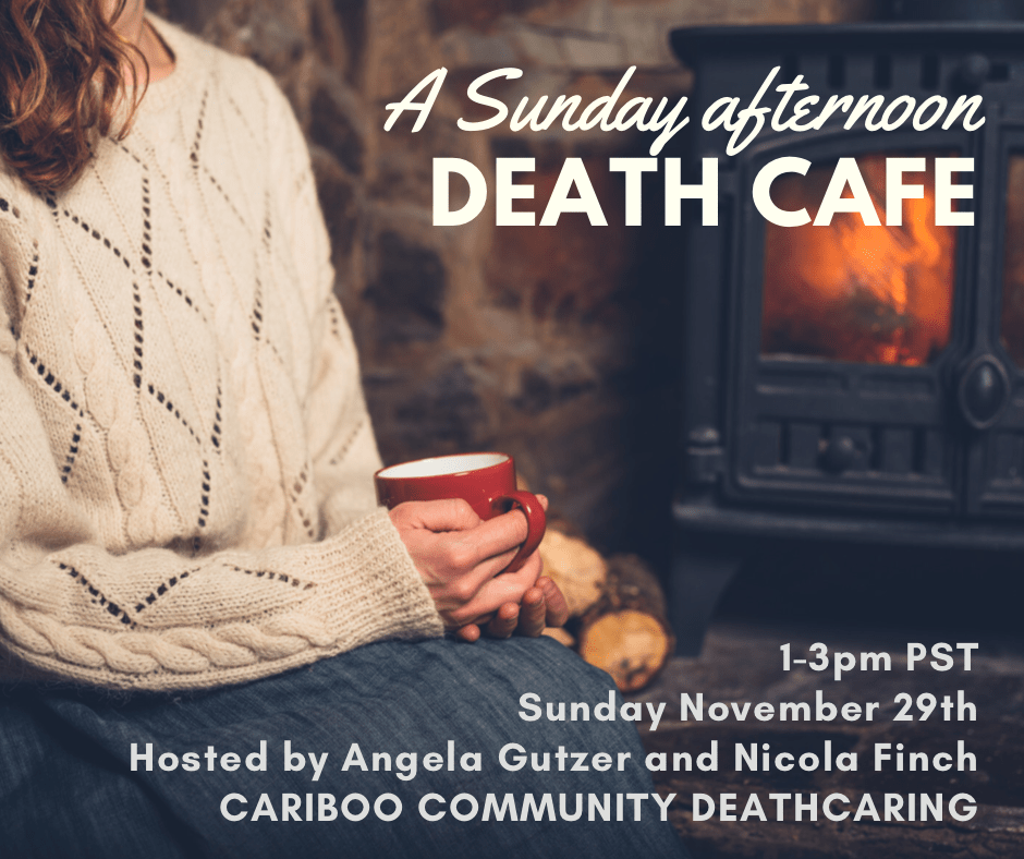 Person in a cozy sweater by a fireplace with a cup of tea ~ participating in a Death Café