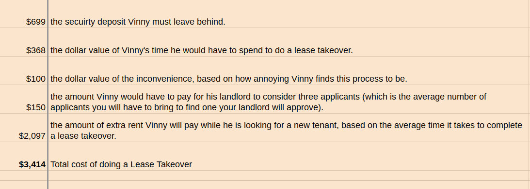 cost of doing lease takeover