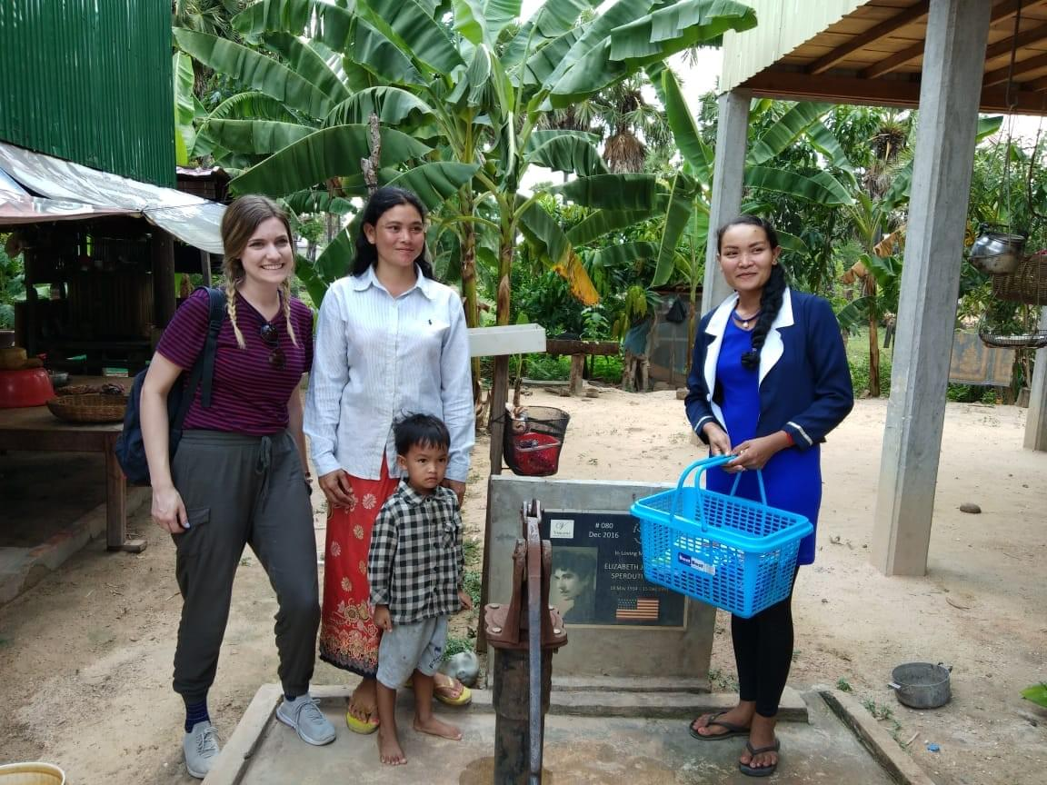 Visiting the Cambodian family that received a water well dedicated in loving memory of her grandmother, Elizabeth Sperduit Wolff.