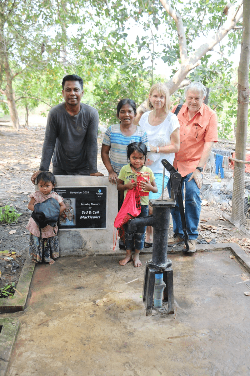 Americans Visiting the Cambodian family that received a memorial water well