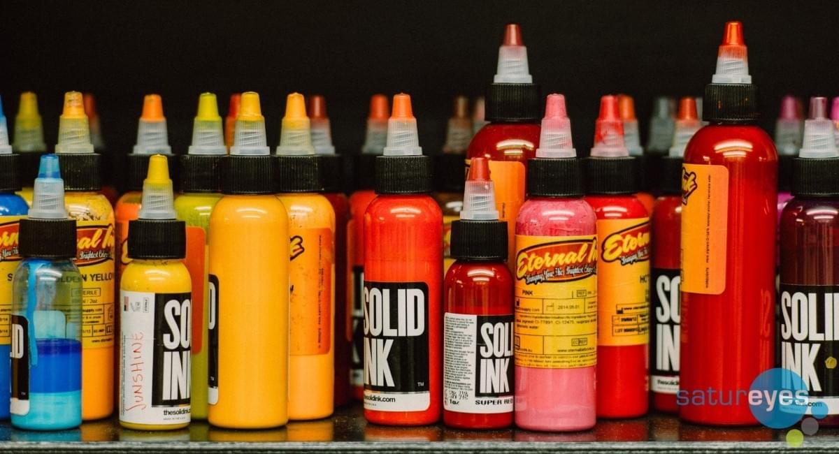 Bottles of The Solid Ink at Ami James Tattoo Studio, Love Hate Social Club in London