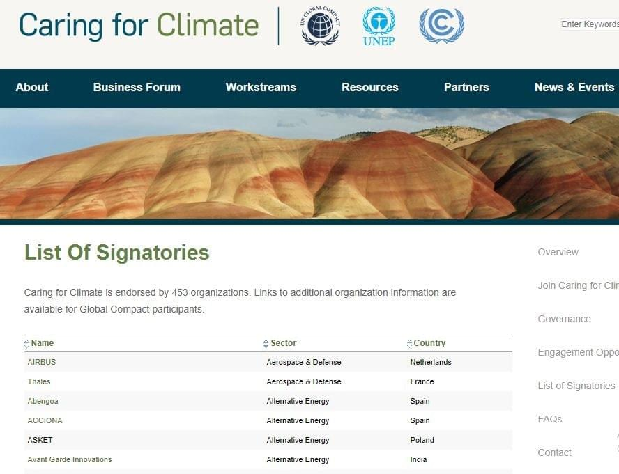 UN Caring For Climate Initiative
