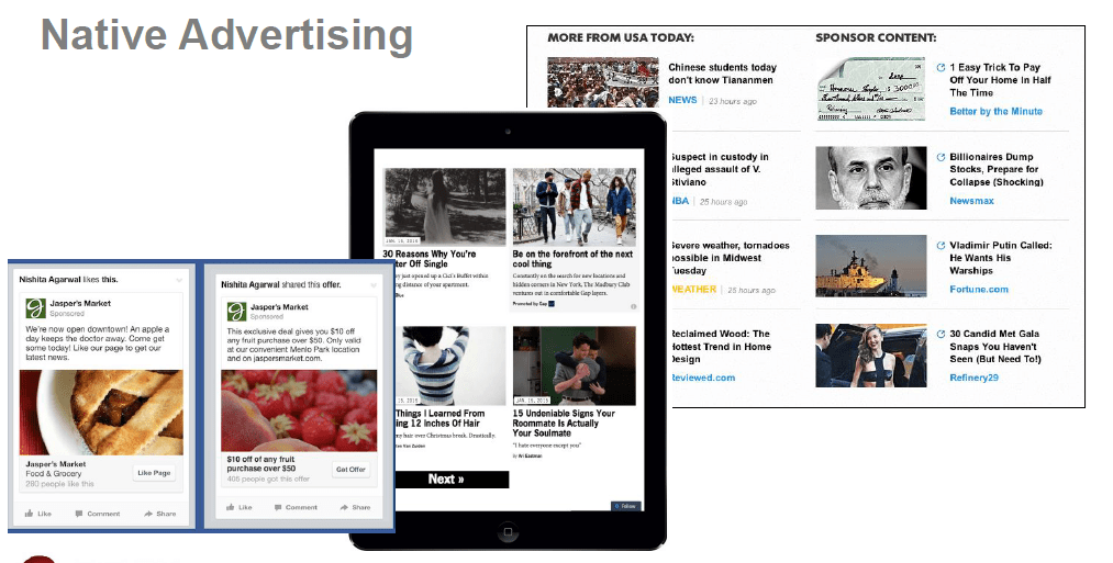 Here are some Native Advertising format. Can you differentiate them with organic feed?