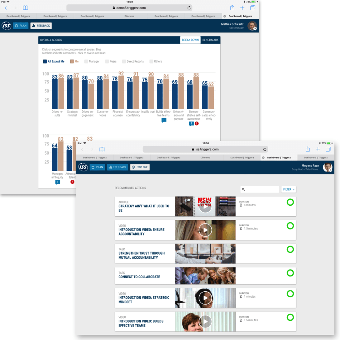 Customer case on learning experience platform: ISS Personal feedback dashboard
