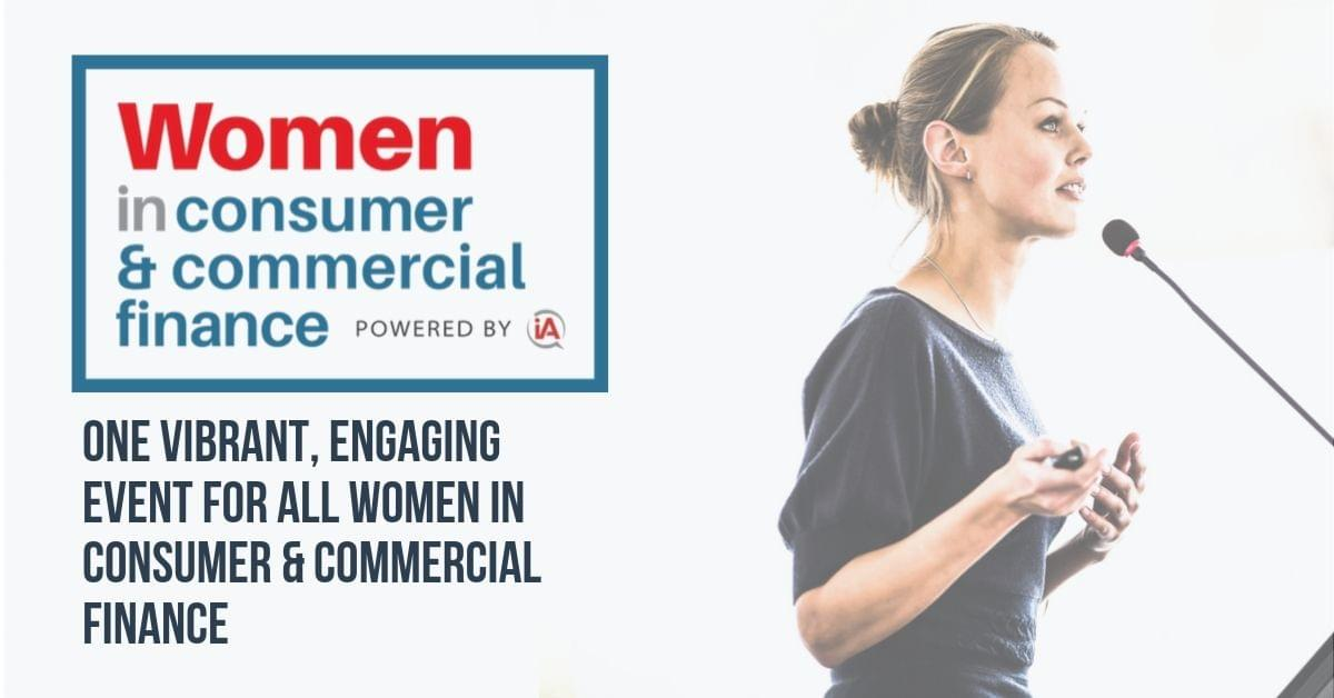 iA Women in Consumer & Commercial Finance logo and photo of woman speaking