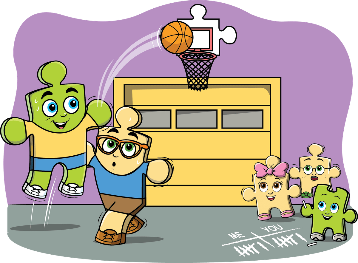 Parker keeps the score of the basketball game with his dad! From the Parker Finds His Perfect Fit intro to math storybook.
