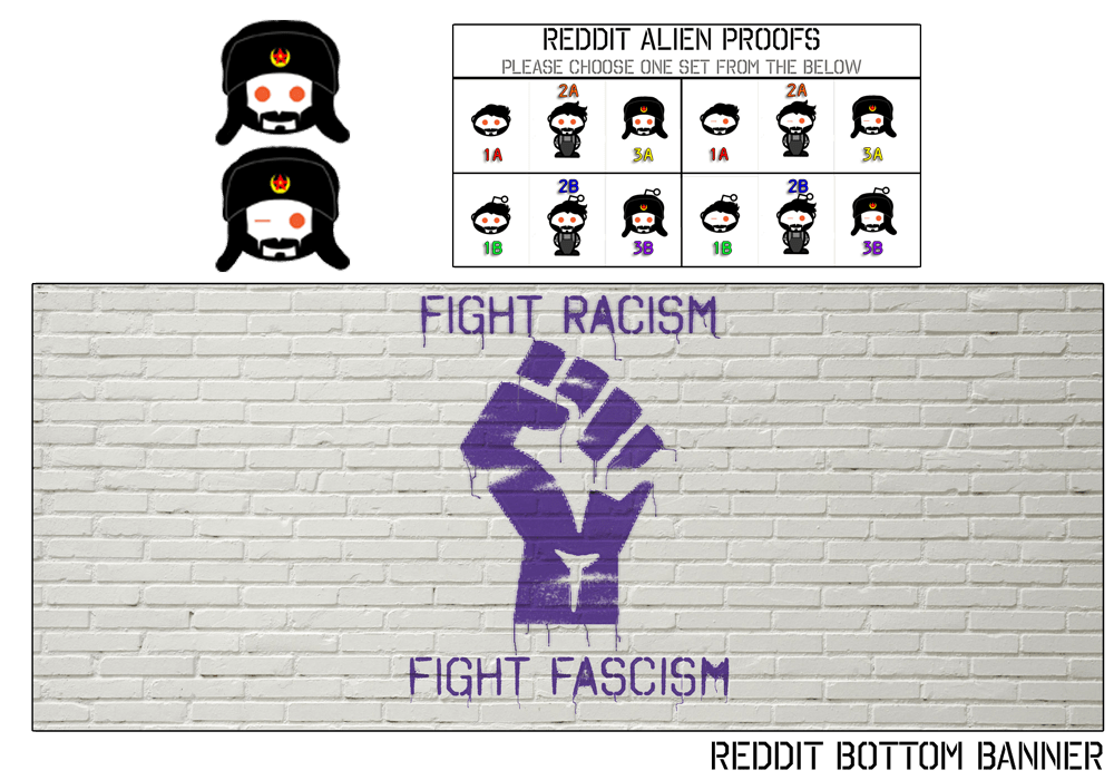 "Preview of Hasan Piker's subreddit footer image and customized aliens. The final alien image is wearing an ushanka. The footer image is a white brick background with purple graffiti that reads ""Fight Racism"" and ""Fight Fascism"" surrounding a stylized fist."