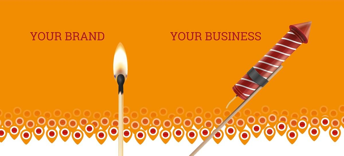 Image: Your brand (match) - your business (firework)
