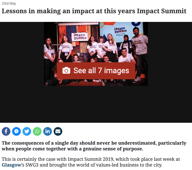 Lessons in making an impact at this year's Impact Summit - The Herald - 23rd May 2019