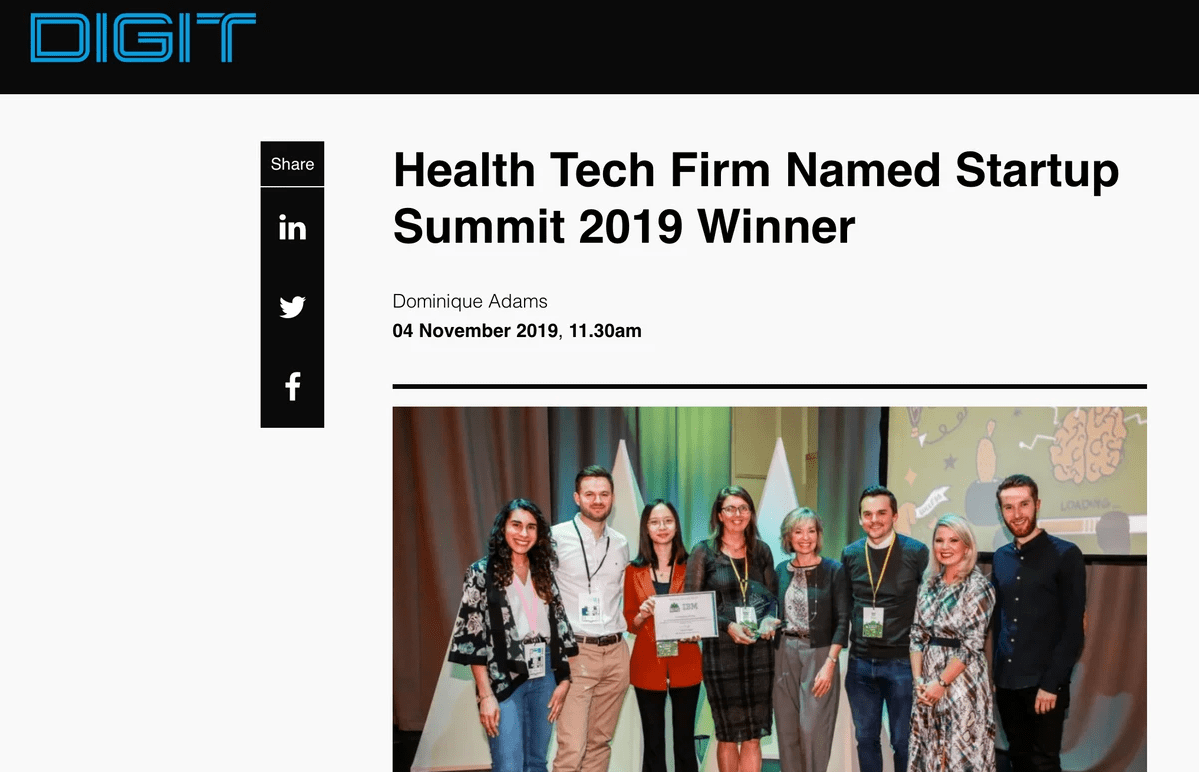 Digit  - Health Tech Firm Named Startup Summit 2019 Winner