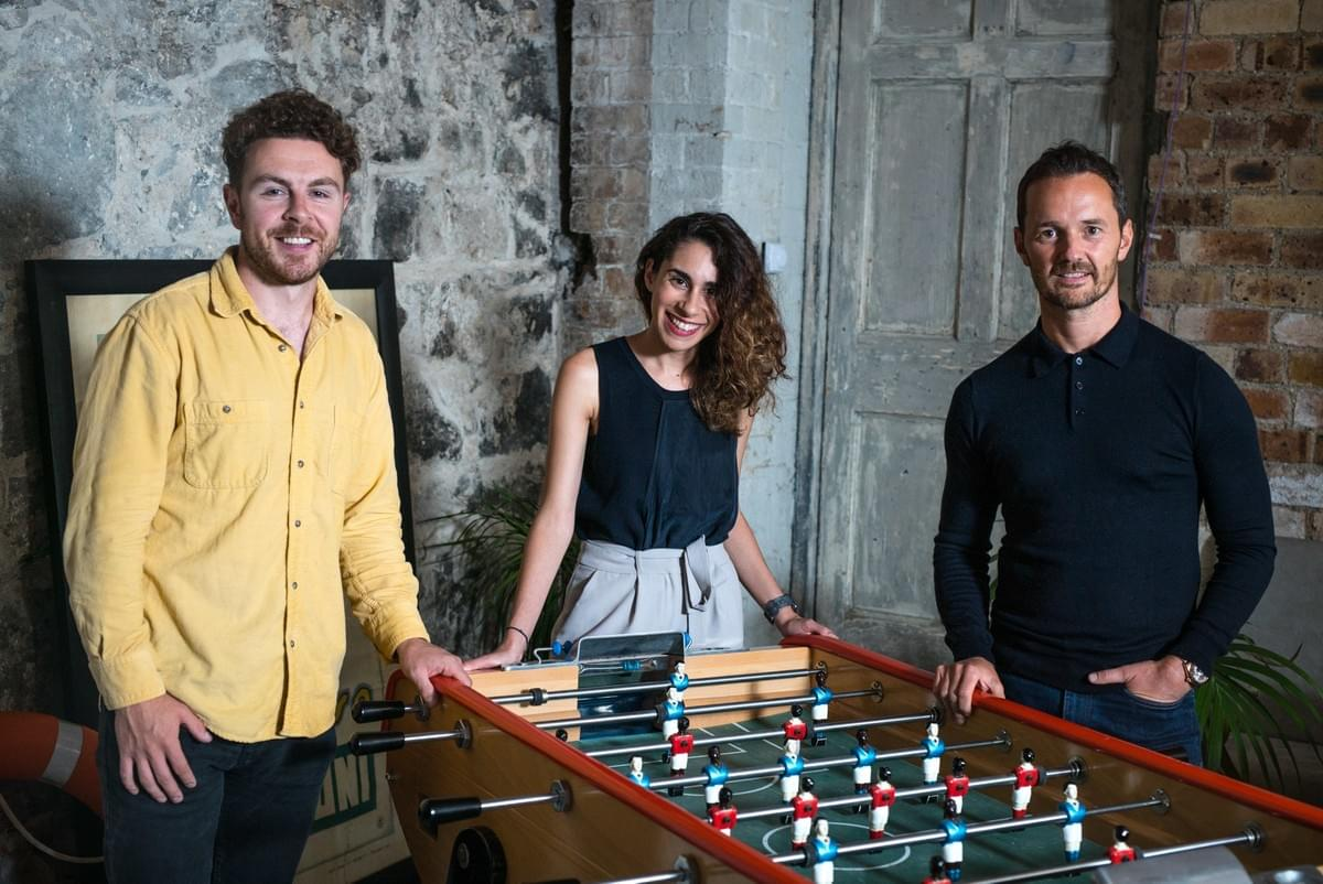 Alan Mahon, Co-founder of Brewgooder with Zoi Kantounatou, Co-founder of FutureX, and Mike Welch, Founder of Atterley and Blackcircles.com in Leith, Edinburgh.