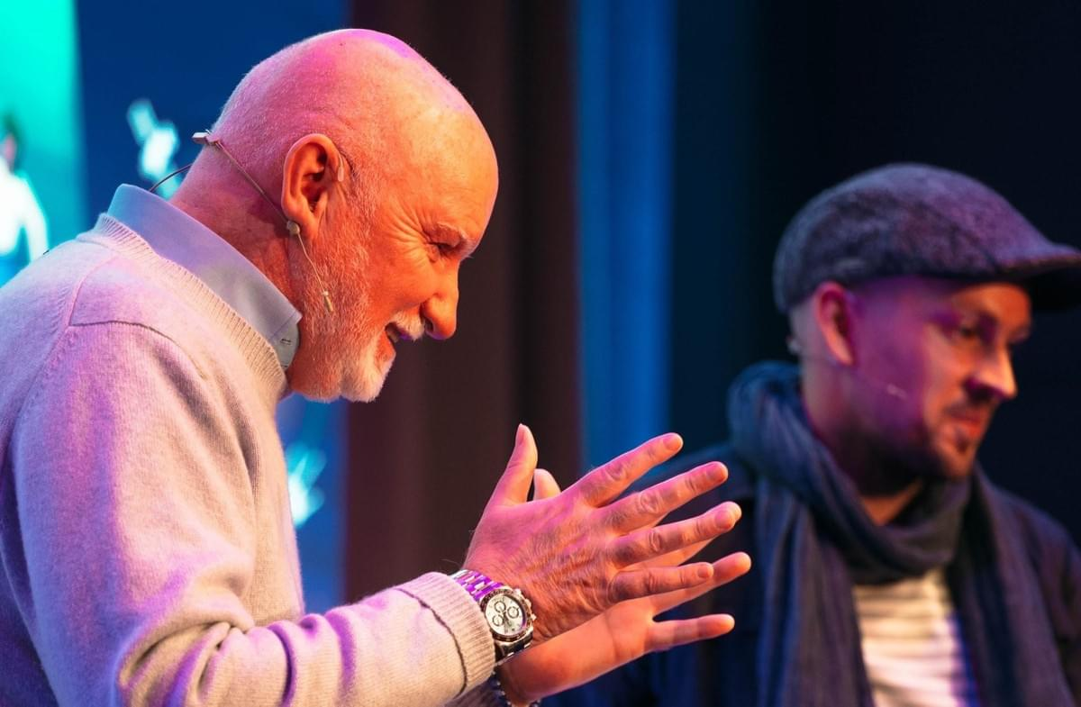 Sir Tom Hunter with Brewdog founder James Watt at FutureX Startup Summit 2017