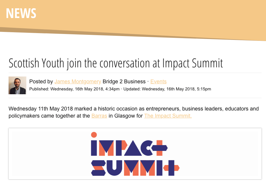 James Montgomery from Bridge 2 Business - Scottish Youth join the conversation at Impact Summit