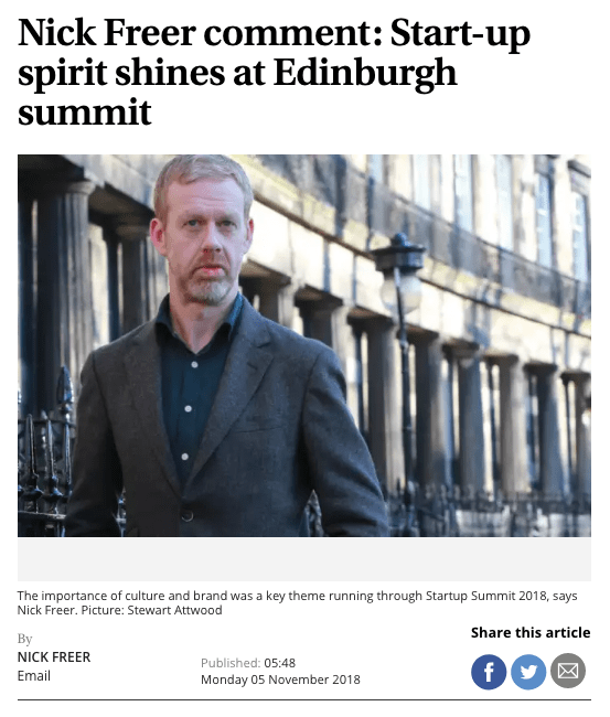 Nick Freer comment: Start-up spirit shines at Edinburgh summit