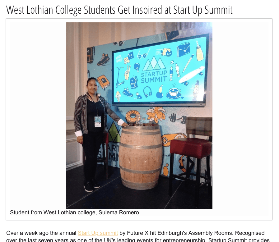 West Lothian College Students Get Inspired at Startup Summit