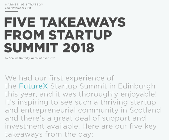 Five takeaways from Startup Summit 2018 - Shauna Rafferty, Account Executive, Teviot