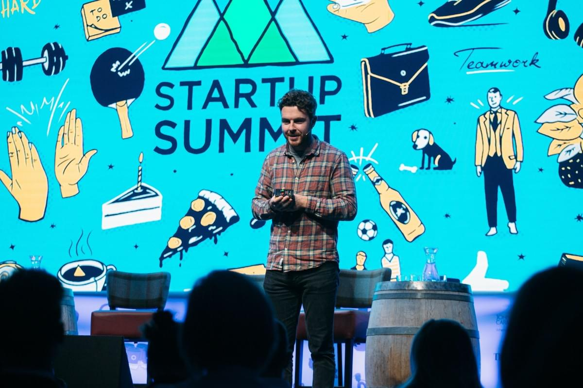 Alan Mahon, Founder of Brewgooder, on the Main Stage at Startup Summit 2018