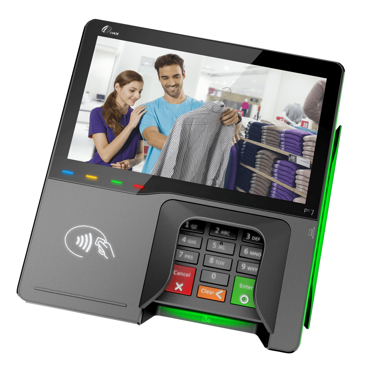 PAX PX5 and PX7 multilane integrated retail terminal