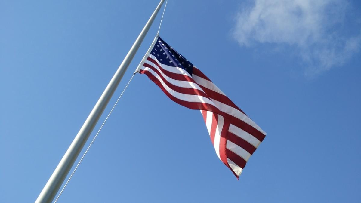 Half-Staff Flag at Tomlinson Field, Gulfport, Florida (C) Laura Peterson.