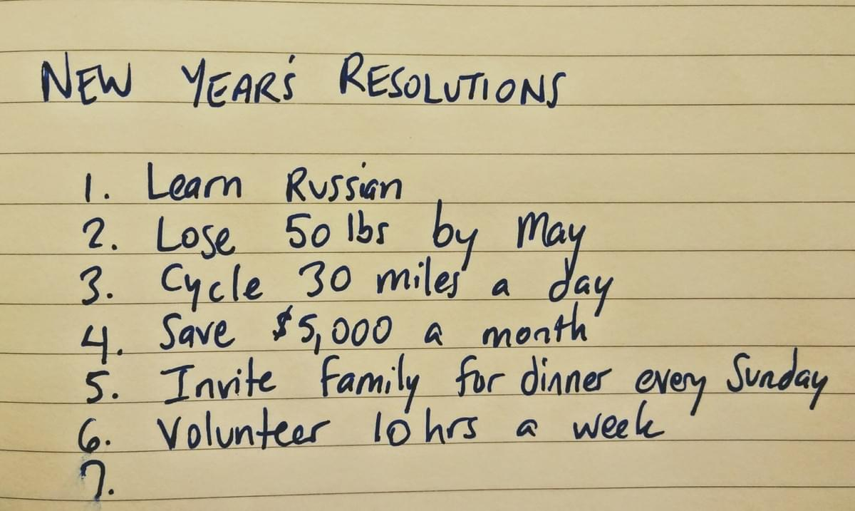 Does your resolution list make you cry?