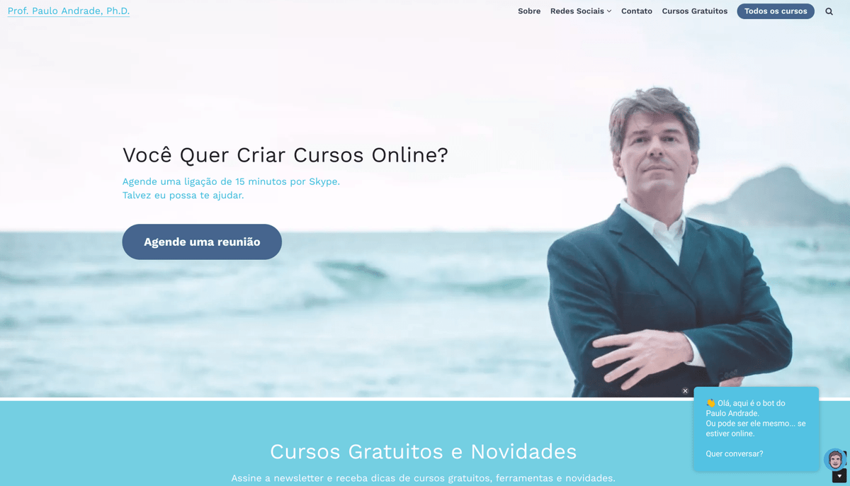 Website do professor Paulo Andrade com o Bot.