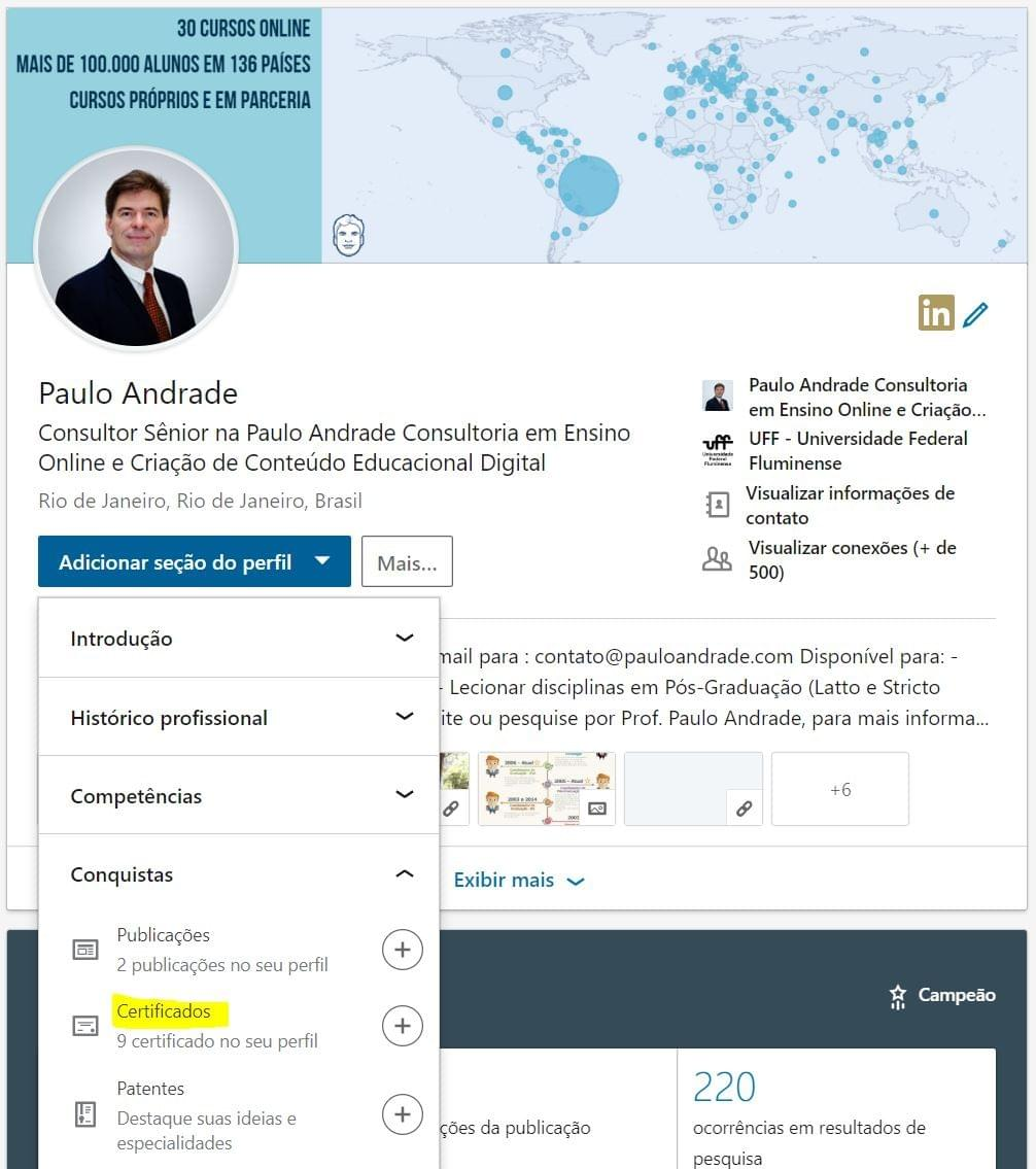 Como colocar seu certificado no LinkedIn.
