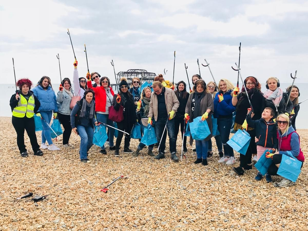 Mary Ann Weeks team on Brighton Pier2Pier Silent Disco Beach Clean