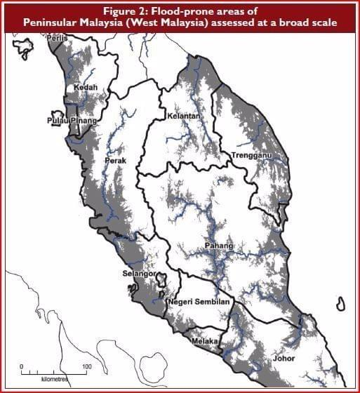 Flood prone areas of Peninsular Malaysia
