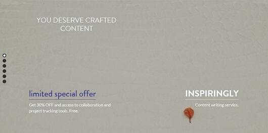 Landing page of a content development service made by Inspiringly.