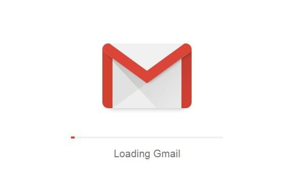 A screenshot showing the opening animation of Gmail service.