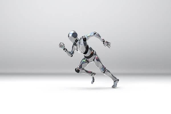 An animated video of artificial intelligence robot running.