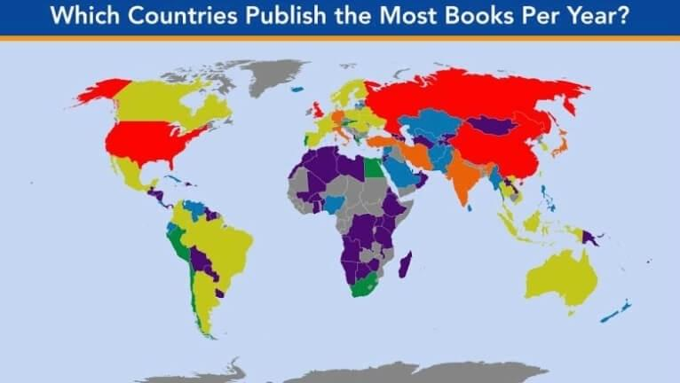 A world map showing the countries that publish most books.