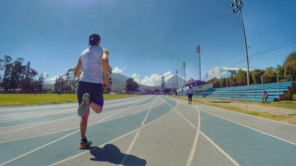 Running track session in Xela, the track is surrounded by volcanoes