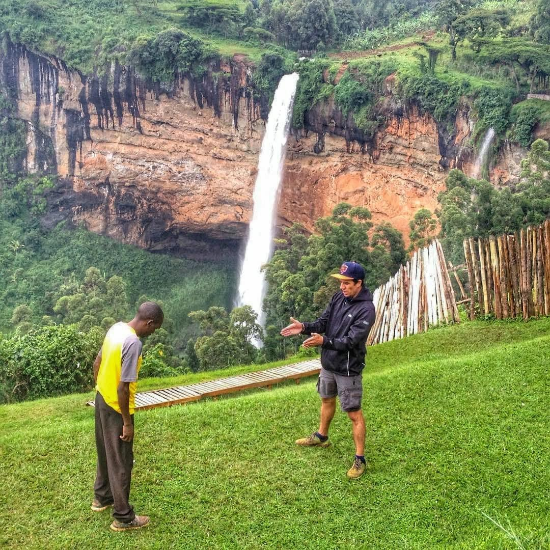 Giving some instruction on strength training in front of Sipi Waterfall in Kapchorwa, Uganda