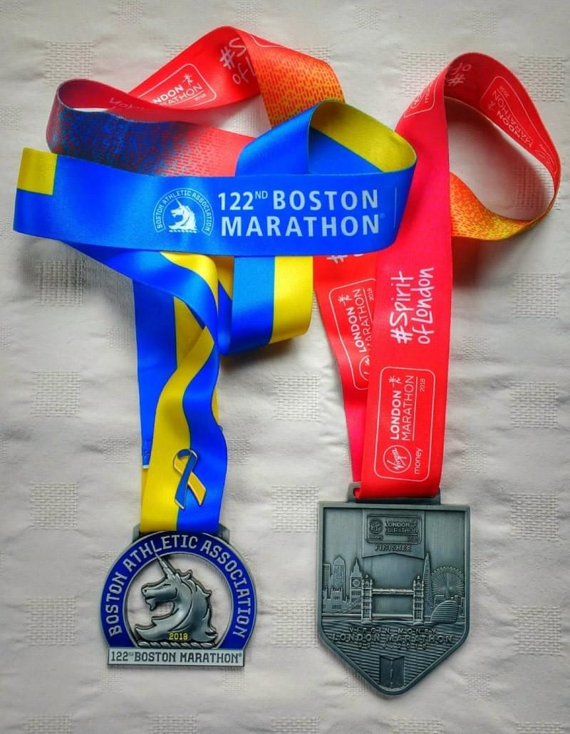 Picture of the 2018 Boston and London Marathon medals