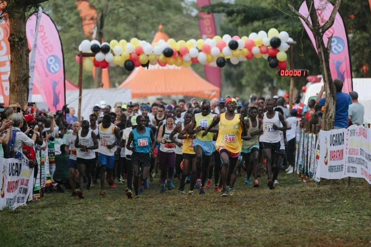 Ugandan runners lead the way at the start of the 2018 Uganda Marathon
