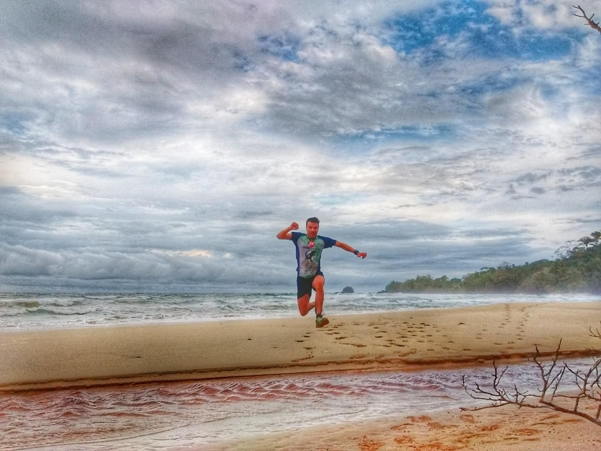 Hurling a creek on Wizard Beach, Bocas del Toro
