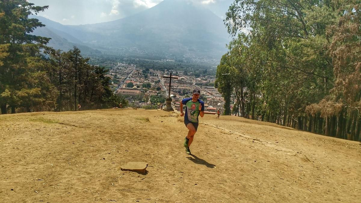 Running up Cerro de la Cruz in Antigua, views of the city and Volcán de Agua in the background