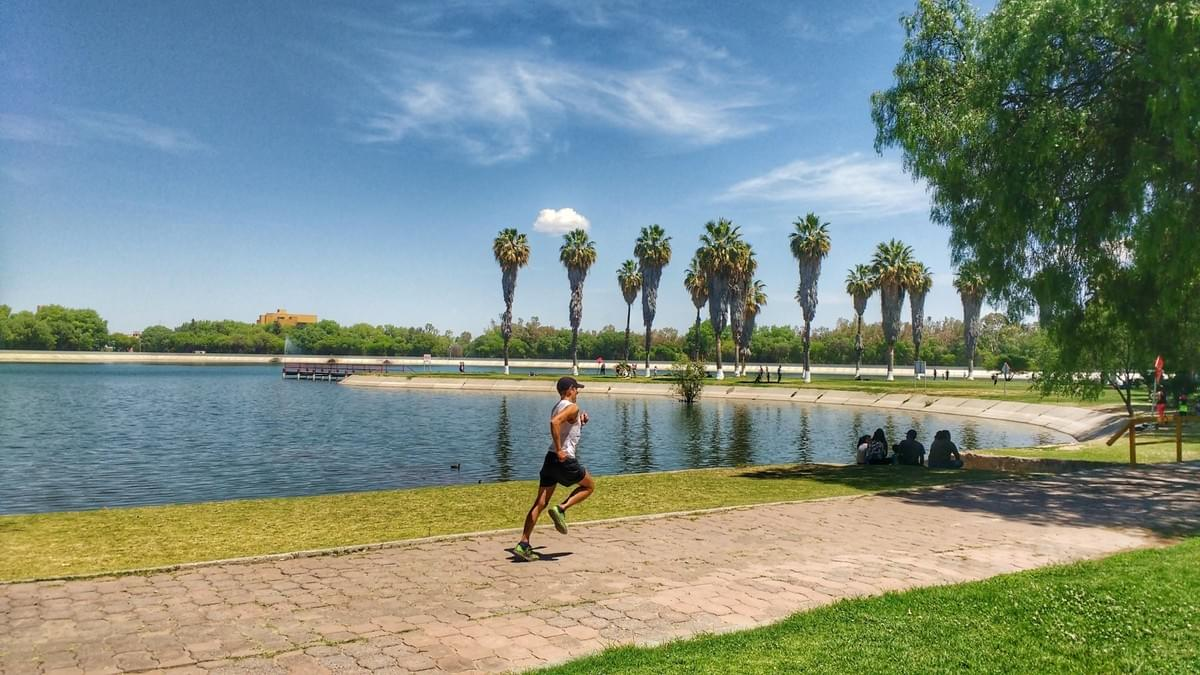 A runner passing one of the lakes at Tangamanga Park in San Luis Potosi. Locals sheltering from the sun underneath trees.