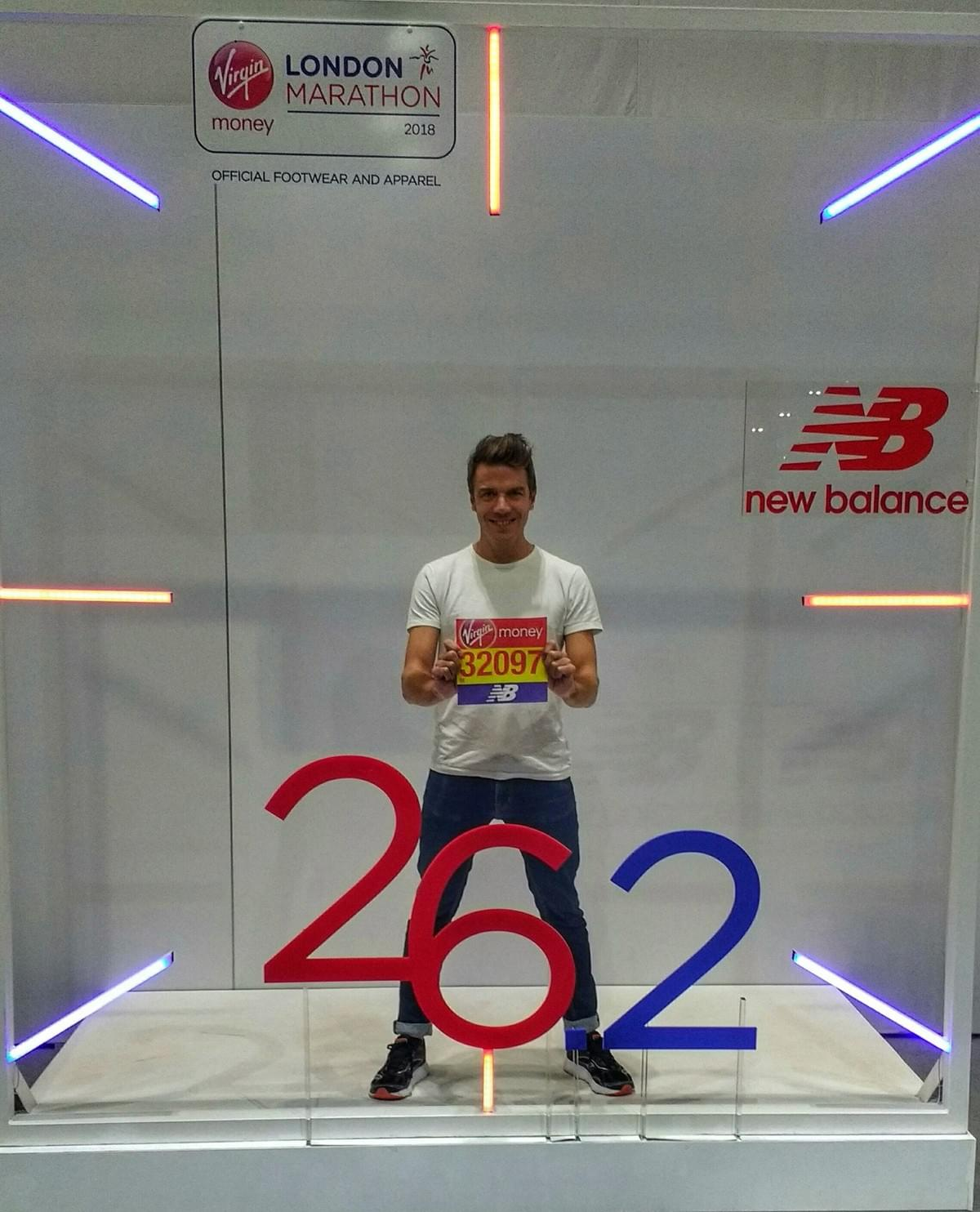 race number photo at London Marathon expo, ExCel London