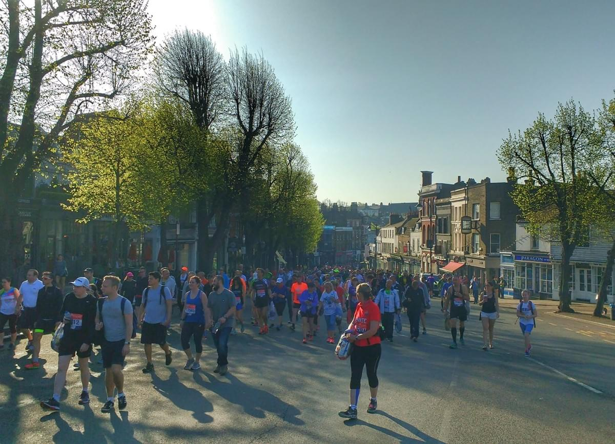 Crowd of runners making their way to Blackheath before London Marathon