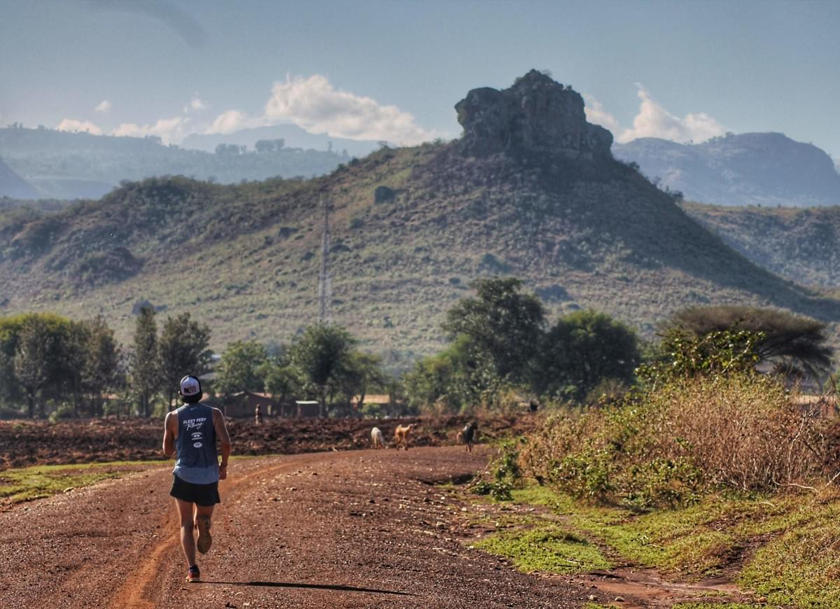 Solo runner on a rural dirt trail running toward livestock and a large tree covered, rock in Cheptui, near Kapchorwa, Uganda