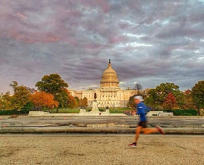Running past Capitol Hill in Washington DC