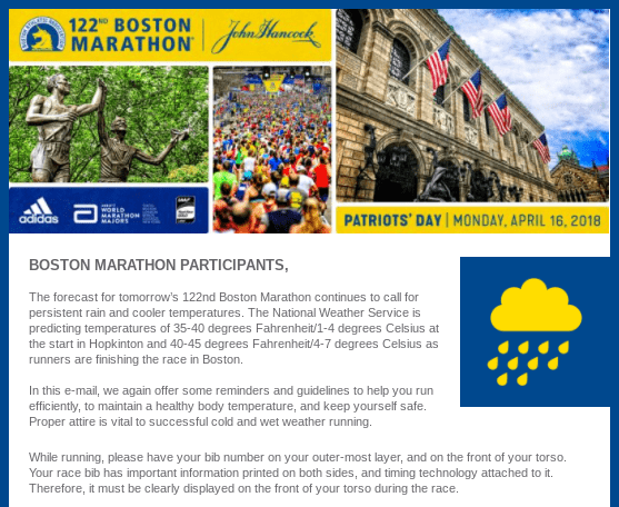 Email received from Boston Marathon organisers warning of severe weather